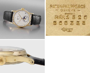 Patek Philippe. A fine 18K gold perpetual calendar wristwatch with phases of the moon