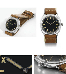 """Rolex made for Officine Panerai. An extremely rare, large and attractive stainless steel water-resistant diver's wristwatch with black lacquer """"California"""" dial"""