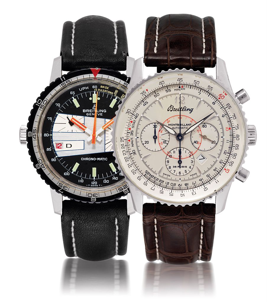 BREITLINGSET OF TWO STAINLESS STEEL AUTOMATIC CHRONOGRAPH WRISTWATCHES WITH DATE DISPLAY