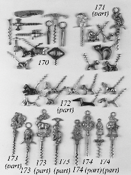 Eighteen novelty animal corkscrews,