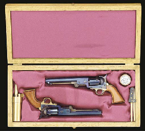 A finely engineered 1/3 scale boxed model pair of Colt Model 1851 Naval Percussion Cap Revolvers,