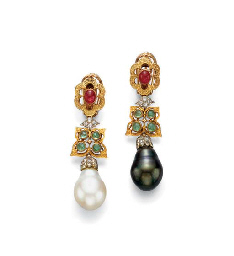 A PAIR OF CULTURED PEARL AND MULTI-GEM EAR PENDANTS, BY BUCCELLATI
