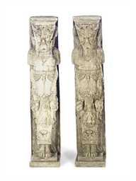 A PAIR OF STONE FIGURAL CORBELS,