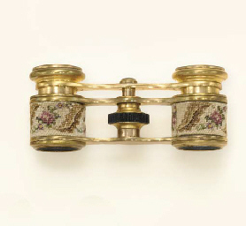 A PAIR OF PETIT POINT AND GILT-METAL OPERA GLASSES