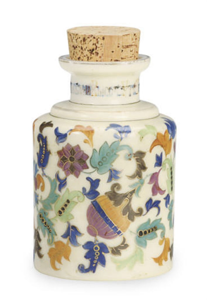 A RUSSIAN PAINTED MILK GLASS TEA CADDY,