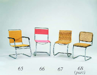 A CHROMIUM-PLATED TUBULAR STEEL AND WOODEN ARMCHAIR, SIDE CHAIR, AND STOOL