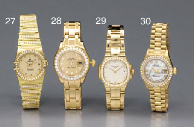 Omega. A lady's 18K gold and diamond-set wristwatch with sweep center seconds, date and bracelet