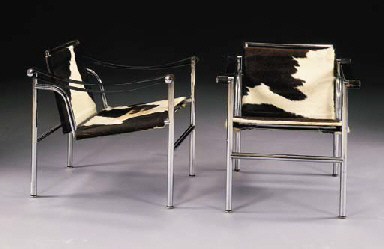 A PAIR OF UPHOLSTERED, CHROMED STEEL, LEATHER 'B301 BASCULANT' ARMCHAIRS