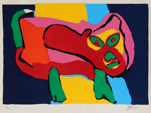 Karel Appel: Figure composition. Signed Appel 71, 3/100. Lithograph in colours. Visible size 70 x 99 cm.