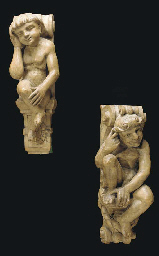 A PAIR OF CONTINENTAL CARVED WOOD FIGURAL CORBELS