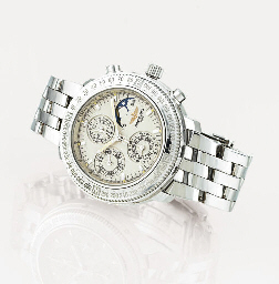 BREITLING. A FINE 18K WHITE GOLD AUTOMATIC TRIPLE CALENDAR CHRONOGRAPH WRISTWATCH WITH MOON PHASES AND BRACELET