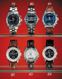 Breitling. A stainless steel tonneau-shaped waterproof wristwatch with sweep center seconds and digital chronograph, calendar, alarm and 24 hour display