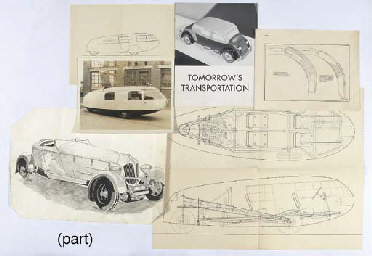 """Tomorrow's Transportation"" - A 1930s folio of designs including title-printed brochure featuring modernistic art-deco influence on current trends including the 'Dymaxion' personnel carrier designed by Buckminster Fuller: and containing an original drawing and blueprints for the Dymaxion forward-control vehicle; together with original draft design drawings for 'Rollston Allweather' coachwork on Plymouth, and an original illustration by Gordon Buehrig for Duesenberg sports touring coachwork; together with blueprints for Marmon, Duesenberg Aerodynamic Sedan and a monotone illustration of Marmon or Cord-styled sports 2-seater etc."