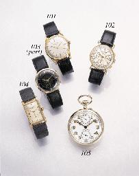 Patek Philippe. A fine 18K pink gold rectangular wristwatch