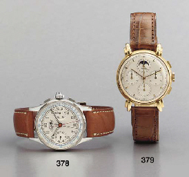 Breitling. A fine 18K pink gold chronograph wristwatch with date and phases of the moon