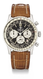Breitling. A large stainless steel pilot's chronograph wristwatch with black dial and date