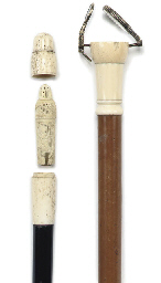 A IVORY MOUNTED MALACCA GADGET WALKING STICK
