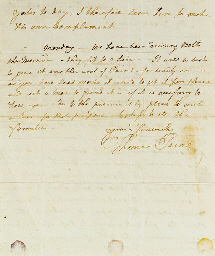 """PAINE, Thomas (1737-1809), Political Philosopher, Patriot. Autograph letter signed (""""Thomas Paine"""") to an unknown recipient (""""My Dear Friend""""), """"Yorkshire Stings Bowling Green"""", Sunday [May 1790]. 1½ pages, 4to, evidence of mounting on lower margin of verso, otherwise in good condition."""