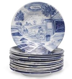 AN ASSEMBLED SET OF TWELVE DUTCH DELFT BLUE AND WHITE 'MONTH' PLATES,