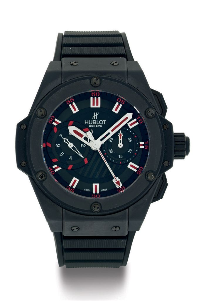 HUBLOT.  A LIMITED EDITION CERAMIC AND TITANIUM AUTOMATIC CHRONOGRAPH WRISTWATCH