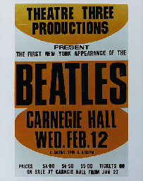 THE BEATLES RECREATED POSTER-SIZED IMAGE FROM THEIR CARNEGIE HALL CONCERT