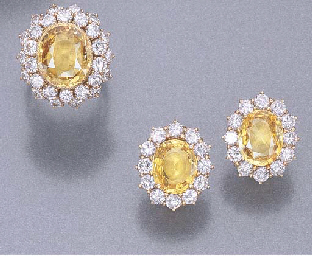 A SET OF YELLOW SAPPHIRE AND DIAMOND JEWELLERY