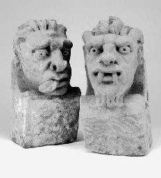 Two carved stone corbels, 19th century