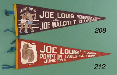 """An official maroon pennant from the 1948 World Heavy Weight Championship, inscribed June 1948, Joe Louis vs. """"Jersey"""" Joe Walcott, World! Heavy Weight Championship, in very good condition, 24in. (61cm) wide; a letter of authenticity from Harold Mayes stating At the time of fight which was the 2nd meeting of Joe Louis & Walcott, I (Harold Mayes) had already written Joe's (Louis) life story in The Sunday Empire News. I was already at the training camp with him on Pompton Lakes, New Jersey, which was the real venue for the champions on those days. This pennant was one of the actual pennants that was hanging in the training camp and I was given it by Joe as a souvenir before the fight. I have had it in my possession ever since; a pair of miniature boxing gloves; and a lapel badge of Sugar Ray Robinson  (4)"""