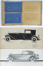 William Burden - Coachwork Commissions; A large folio containing original artwork & illustrations and blueprints etc for coachwork designs specially commissioned from leading designers and manufacturers; including Mercedes-Benz  SS original draft designs by Rollston dated 11/30/31, and similar designs for Hispano-Suiza; Le Baron designs on Mercedes for 2 & 4-seater coachworks dated 1925; Brewster designs on Rolls-Royce chassis; Hibbard & Darrin on Hispano-Suiza; and further designs by Rollston on Mercedes dated 1930; also with original sketch designs by Gordon Buehrig; Rollston on Marmon captioned and dated 1932; original colour artwork on Bentley 8-litre by Gurney Nutting & Coy, Chelsea London; and with many blueprints for designs for Mercedes-Benz, Bentley, Rolls-Royce, Miller Sixteen, Packard, Hispano-Suiza, Andre Dubonnet, and with a group of original pencil designs by Waterhouse Coachbuilders of Webster, Mass.  With related ephemera etc.