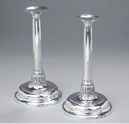 Two Spanish silver candlesticks