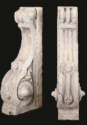 A PAIR OF FRENCH LIMESTONE CORBELS