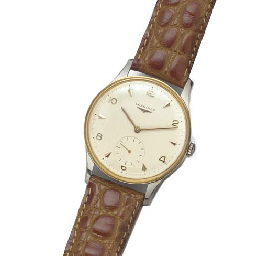 LONGINES: A STEEL AND GILT WRISTWATCHsigned Longines, circa 1955.