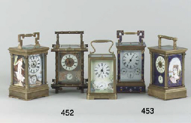 (2) Two brass and enamel carriage clocks