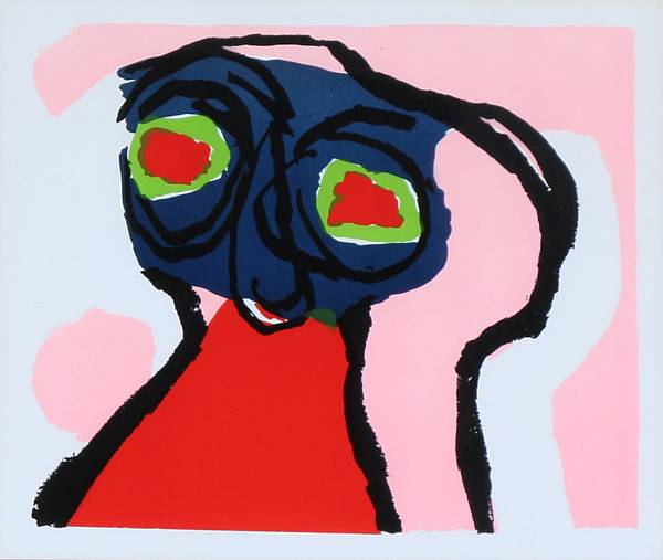 Karel Appel: Composition. Unsigned and unnumbered. Lithograph in colours. Visible size 27 x 30 cm.
