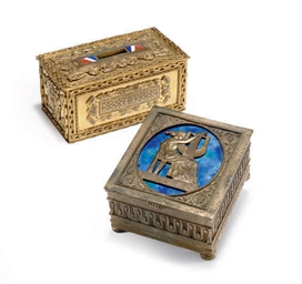 TWO GILT-BRONZE AND ENAMELED TABLE CASKETS,