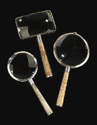 THREE SILVER-MOUNTED SHAGREEN-VENEERED MAGNIFYING GLASSES