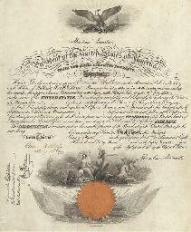 """LINCOLN, Abraham. Engraved document boldly signed (""""Abraham Lincoln"""") as President, countersigned by Secretary of Navy Gideon Welles, Washington, D.C., 12 March 1863. 1 page, large folio, PRINTED ON PARCHMENT, an elaborately engraved military commission, with American Eagle at top center, standing astride a harpoon, with the bold heading below: """"Abraham Lincoln, President of the United States of America.""""  A red paper seal at bottom, along with a large vignette of Poseidon and his sea-horse drawn carriage, and other naval imagery. Small legend at bottom: """"American Bank Note Co., New York."""" A Navy Department docketing inscription appears in lower left corner. Matted and in a fine quality archival frame."""