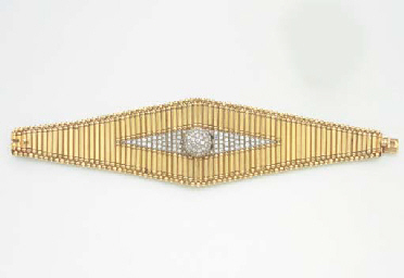 AN ATTRACTIVE GOLD AND DIAMOND WRISTWATCH, BY JAEGER-LECOULTRE