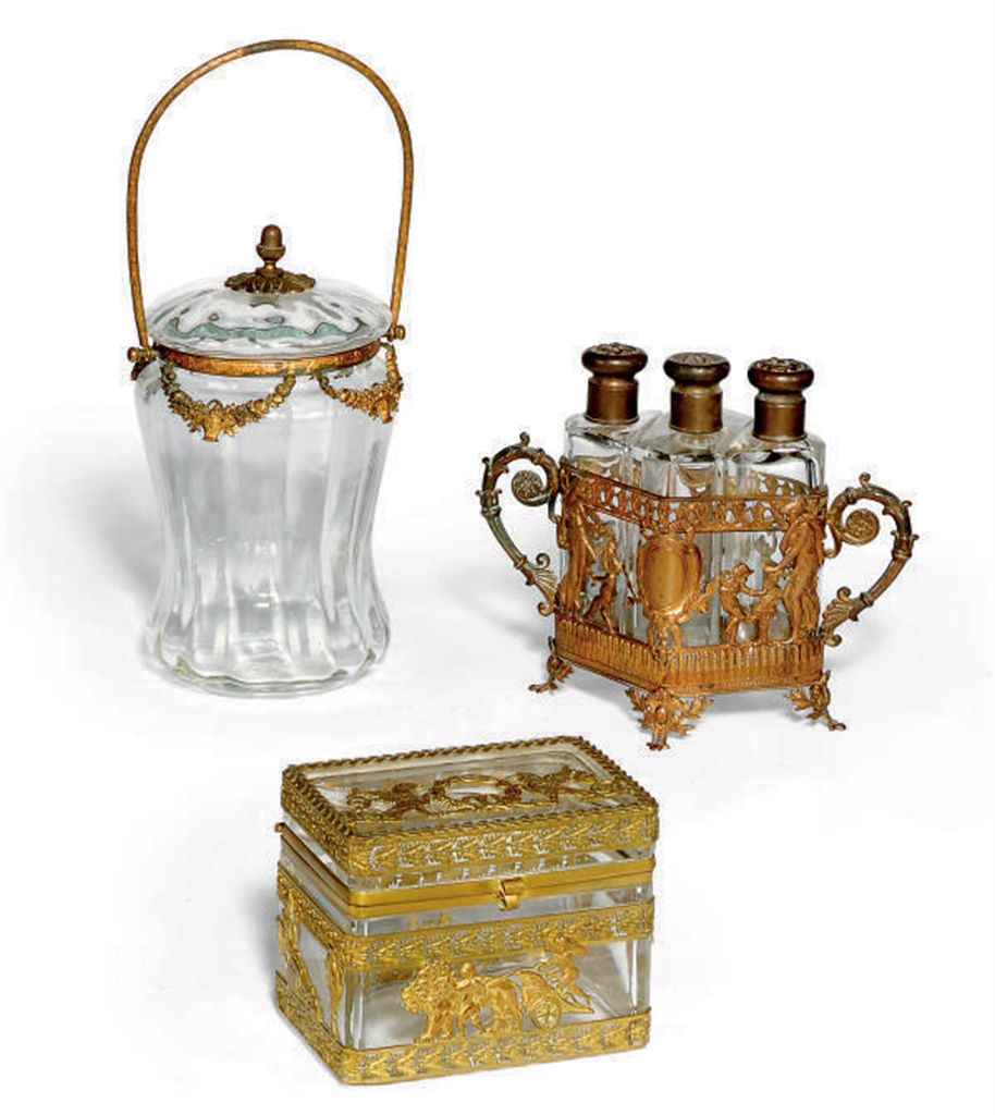 THREE FRENCH GILT-METAL MOUNTED GLASS CASKETS