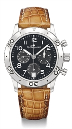 Breguet. A stainless steel automatic fly-back chronograph wristwatch with date and black dial
