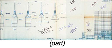[APOLLO BLUEPRINT]. Inboard Profile - Apollo Complete. North American Aviation, Inc. (NAA), 1962/63. 17.5 x 68 in. folded, scale 1/40. One of the earliest blueprints made of the spacecraft, with the base design created just over one year after NASA awarded the contact to North American. Provides eight views of the Command and Services Modules (CSM) with the Launch Escape System attached. BOLDLY INSCRIBED WITH THEIR APOLLO FLIGHT NUMBER BY BUZZ ALDRIN, ALAN BEAN, GORDON COOPER, WALT CUNNINGHAM, CHARLES DUKE, FRED HAISE, EDGAR MITCHELL, WALLY SCHIRRA, AND TOM STAFFORD.