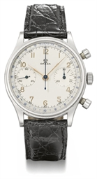 Omega. A large stainless steel chronograph wristwatch with two-tone silvered dial