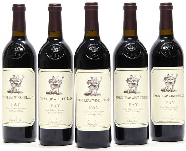 "5 bts. Cabernet Sauvignon ""Fay"", Stag's Leap Wine Cellars, Napa Valley 2008 A (hf/in). Oc."