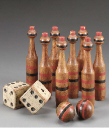 AN AMERICAN POLYCHROME PAINTED AND DECORATED SET OF MINIATURE BOWLING PINS AND BALLS,