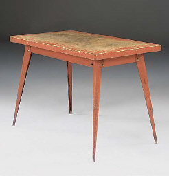 A FRENCH ENAMELLED STEEL WORK TABLE
