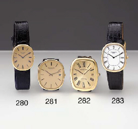 Patek Philippe. An 18K gold oval-shaped wristwatch with hidden lugs
