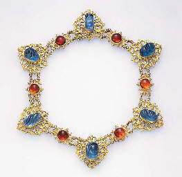 AN ATTRACTIVE AQUAMARINE, CITRINE AND GOLD NECKLACE, BY BUCCELLATI