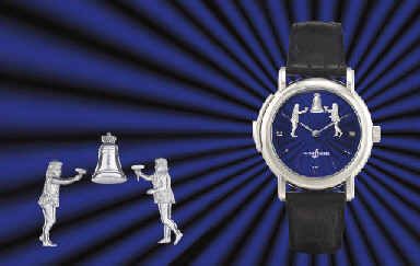 ULYSSE NARDIN. A FINE AND RARE LIMITED EDITION PLATINUM MINUTE REPEATING WRISTWATCH WITH AUTOMATON JACQUEMARTS