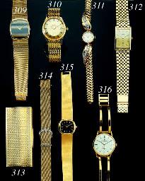 PATEK PHILIPPE. A RETRO 18K GOLD AND DIAMOND LADY'S WRISTWATCH