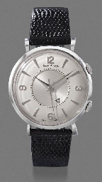 Jaeger-LeCoultre. A stainless steel wristwatch with alarm and sweep centre seconds